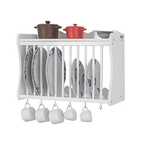 SoBuy FRG275-W Tellerhalter in weiß Tellerregal Wandregal Küchenregal mit 6 Haken Landhausmöbel BHT ca.: 54x38x24cm