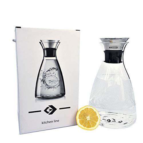 Threepaths 1500ml KARAFFE aus Borosilikatglas mit Edelstahl-Ausgießer - Wasserkaraffe Glasbehälter...