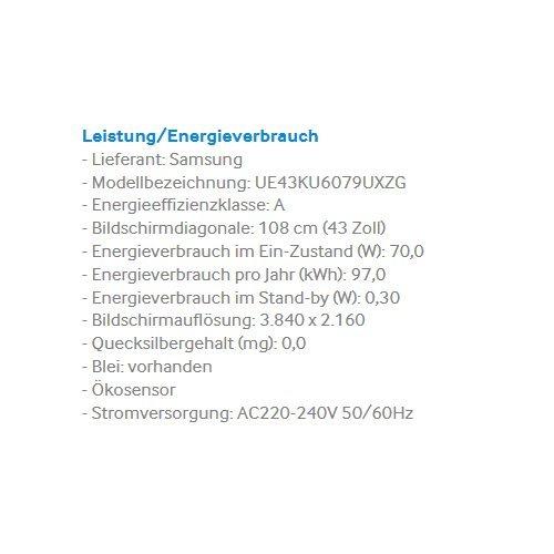 Samsung UE43KU6079 108 cm (43 Zoll) 4k Fernseher - 3