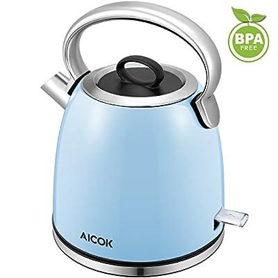 Aicok Bouilloire électrique 2200W eau rapide Bouilloire, 1,7 L sans fil en acier Inoxydable Bouilloire avec grand bec et Fonction d'arrêt Automatique, sans BPA, Bleu