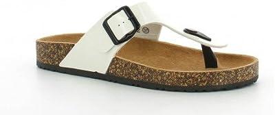 Ideal Shoes - sandalias de estilo abierto lacado ortopédica con cinturón de piel Konrad 38 blanco