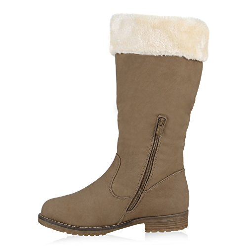 Warme Damen Schuhe Stiefel Stiefelette Boots Taupe Weiss