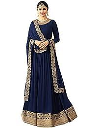 TF Prachi Desai Georgette Anarkali Suit (Navy Blue,Free Size,Vinay_7171)