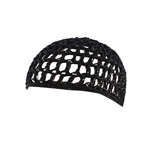UJUNAOR Frauen Schlafmütze Handgemachte Gehäkelte Haarnetz-Taschennetz Gelockte Handhäkelarbeit Haar Mütze Nachtkappe(Schwarz)