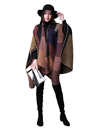 Damen Poncho Herbst Winter Kariert Capes Patchwork Strickjacke Mehrere Funktion Plaid / kakhi