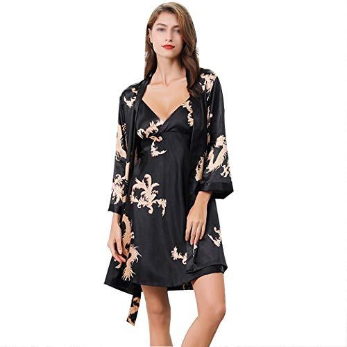 YONGYONG Paar Gedruckt Robe Chinesischen Stil Frauen Pyjamas Herren Langarm Hohe Simulation Silk Pyjamas Set Clothing/Sleepwear (Farbe : Schwarz, größe : Ms. M)