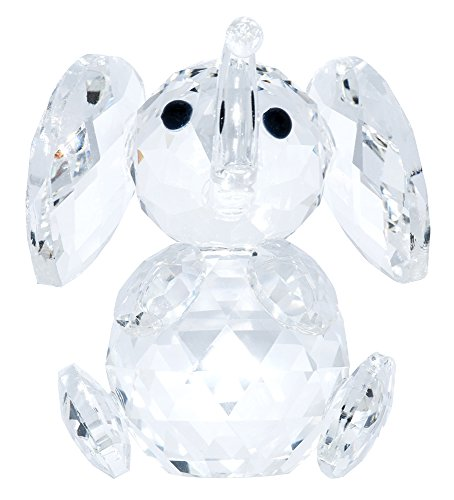 Haysoms - Transparent Crystal Elephant Decorative Figure with Curved Trunk, 5 x 5 x 5 cm