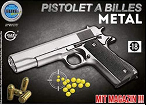 Elite series Pistolet Metal À Billes 22 Cm Argent 0.5 Joules Attention: Vente Interdite Aux Personnes Âgées De Moins De 18 Ans