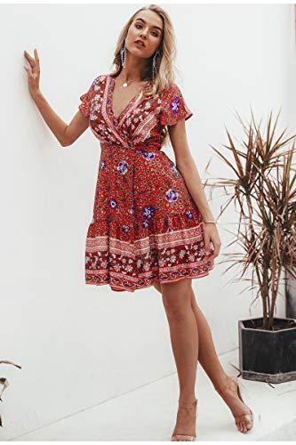 MATTE Short Sleeve V-Neck Grenze A-Line Dress,L -