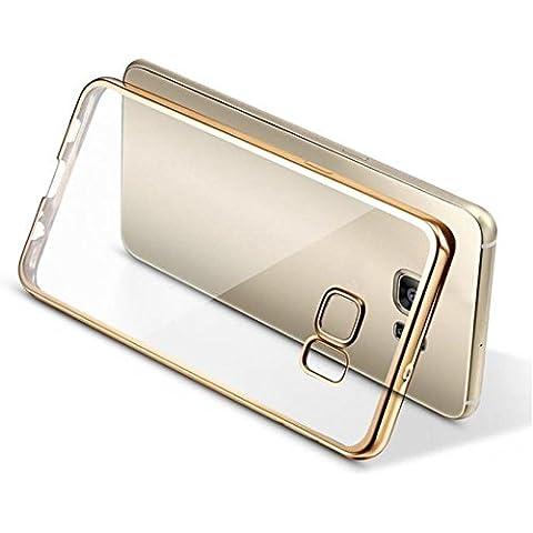 Ouneed® Bordo Di Lusso Specchio Slim Caso Della Copertura Per Samsung Galaxy S7 edge (Oro) - Pulsanti Turtle