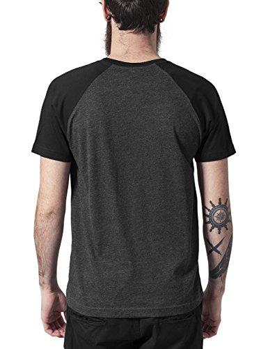Urban Classics TB639 Herren T-Shirt Raglan Contrast Tee Mehrfarbig (Cha/Blk 314)