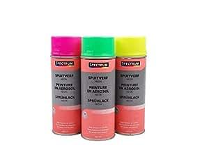 Peinture en Aerosol - Neon fluo - 400ml - Sechage 10min Metal Bois - JAUNE FLUO