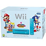 Nintendo Wii Console (Blue) with Mario and Sonic at the London 2012 Olympic Games (New Slim-Style)