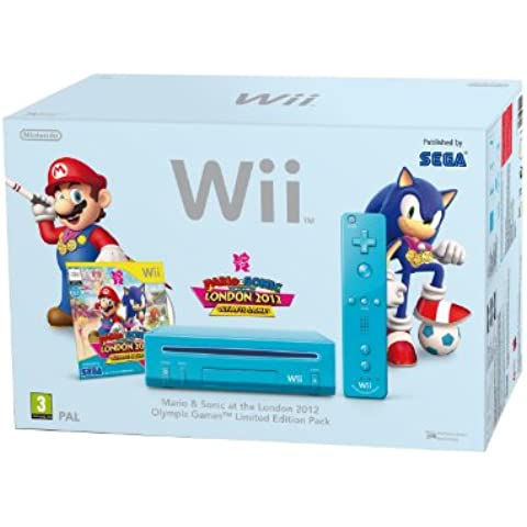 Nintendo Wii Console (Blue) with Mario and Sonic at the London 2012 Olympic Games (New Slim-Style) [Importación