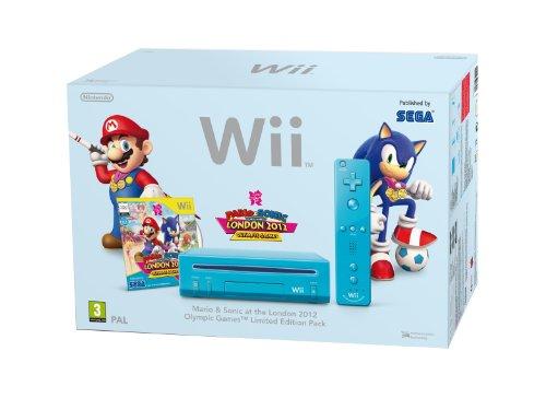 NINTENDO Spielkonsole Wii blau + Spiel Mario & Sonic bei den Olympischen Spielen in London 2012 + 1 Fernsteuerung Wii Pl