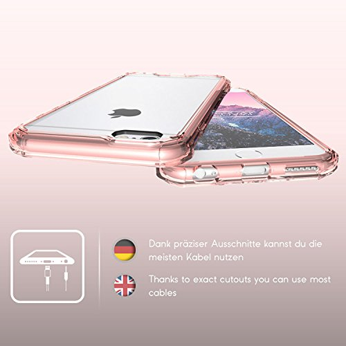 Urcover® Apple iPhone 6 Plus / 6s Plus Hülle, mit [ Verstärktem Rand ] Handy Schutz-Hülle Armor TPU / Silikon Klar Ultra Slim Cover Schale Dünn Flexibel Silikonhülle Crystal Back-Case Handy Zubehör Rose Gold