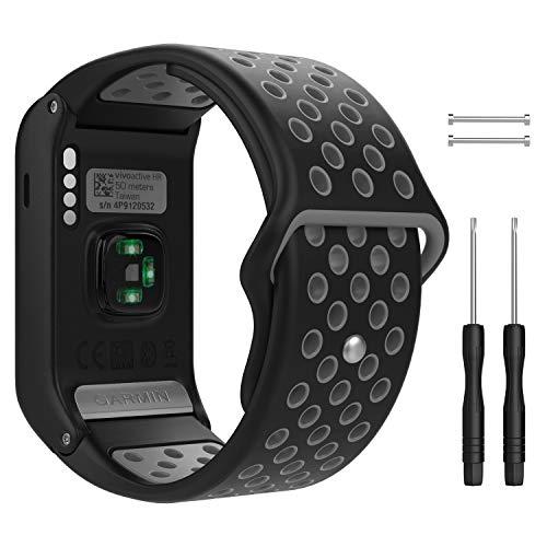 MoKo Pulsera para Garmin Vivoactive HR, Pulsera de Silicona Respirable y Reemplazable, Banda de Reloj Deportivo con Cierre - Negro y Gris
