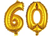 Alsino XXL Folienballons Luftballon Heliumballon Zahlenballon Ziffern 18-90 80 cm Party Geburtstag Hochzeit, Variante wählen:60, Variante wählen:Gold