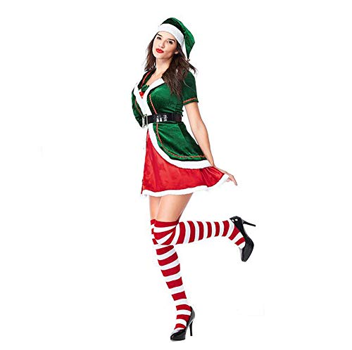 Elf Women's Kostüm - JOEY Kostüme Langarm Weihnachtskostüm Weihnachtsmann Packung Verdicken Erwachsenen Herren Party Performance Elf Wear Socken,Woman-M