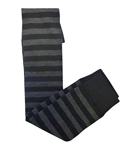 Spaß Verspielt Sassy Nette Emo Gothic Über das Knie gemusterte Socken - Stripes Schädel Herzen Gr. One Size, Schwarz - Black & Grey Stripes (Schuhe Stiefel Viktorianische)