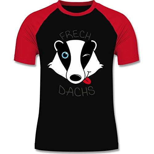 Shirtracer Statement Shirts - Frechdachs - Herren Baseball Shirt Schwarz/Rot