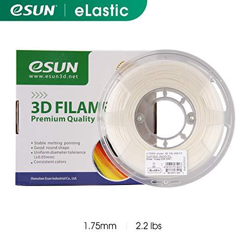 eSUN eLastic Filament für 3D-Drucker, 1,75 mm, flexibel, TPU, 83A, natürlich, 1 kg Spule