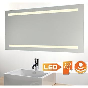 Miroir chauffant clairage led avec d tecteur 120x60 cm - Glace de salle de bain avec eclairage ...