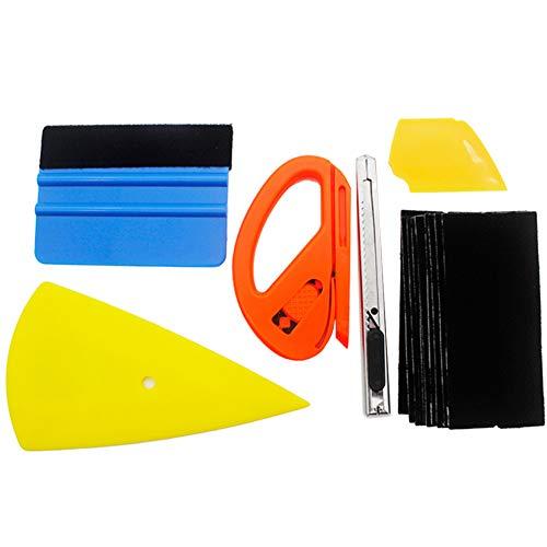 Beito 6Pcs Auto-Vinylverpackungs-Tool Kit Fahrzeugglas-Schutzfolie Autofenster Wrapping-Tönung-Vinyl Installation Tool inklusive Squeegees Scraper Film Schneider