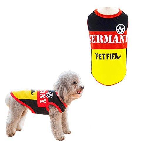SymbolLife Hunde T-Shirt Trikot Jersey für Hunde Katzen Kostüme Nationalflagge Fußball Weltmeisterschaft FIFA Kleidung Haustierhundekleidung Deutschland (XL)