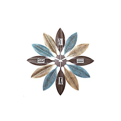 Vinteen rurale creativo orologio da parete soggiorno muto personalità moderna famiglia orologio al quarzo ingresso camera da letto ferro arte foglie orologio e orologi horologe