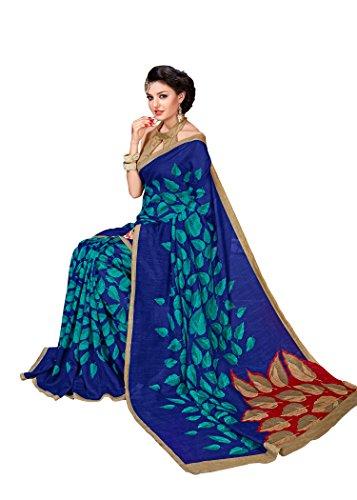 Novus Knitting Blue Printed Mysore Jute, Cotton Linen Blend uniform Saree With...