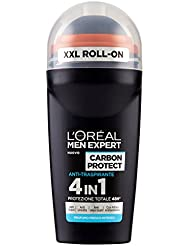 L'Oréal Paris Men Expert Carbon Protect Deodorante Uomo Roll On Anti-Traspirante, Anti Aloni Gialli, 50 ml