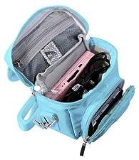 Orzly Travel Bag für alle Nintendo DS Konsole Modell Versionen mit Faltbarer Bildschirm (Original DS / 3DS / DS Lite / 3DS XL / DSi / New 3DS / New 3DS XL / 2DS XL / etc.) - Tasche enthält: Schultergurt + Tragegriff + Gürtelschlaufe + Fächer für Zubehör (Spiele / Stifte / Lade Kabel / Amiibo / etc.) - BLAU