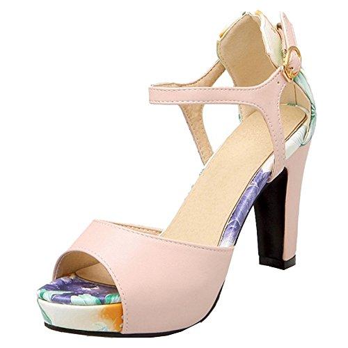 TAOFFEN Femmes Peep Toe Sandales Classique Bloc Talons Hauts Chaussures De Boucle Rose