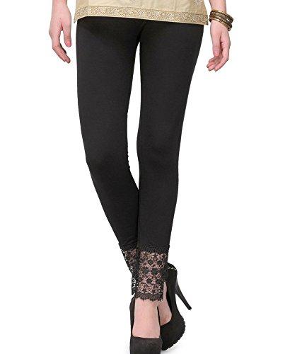 PI World Black lace plazzo Leggings(Cotton Lycra - 4 Way Stretchable)