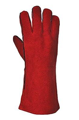 Grillhandschuhe Texas rot aus Rindspaltleder
