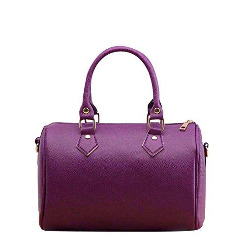 Damen-Handtasche von brezeh, Schultertasche aus Leder, Messenger-/Hobo-Tasche Tote Einheitsgröße violett (Hobo Tote Sling)