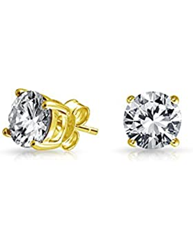 Mens Unisex Gold Plated 925 Silver CZ Stud Earrings 6mm