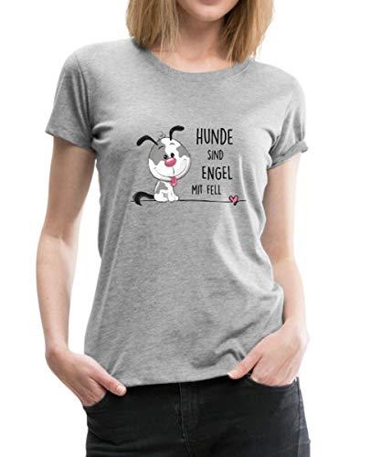 Spreadshirt Hunde Sind Engel Mit Fell Frauen Premium T-Shirt, XXL (44), Grau meliert