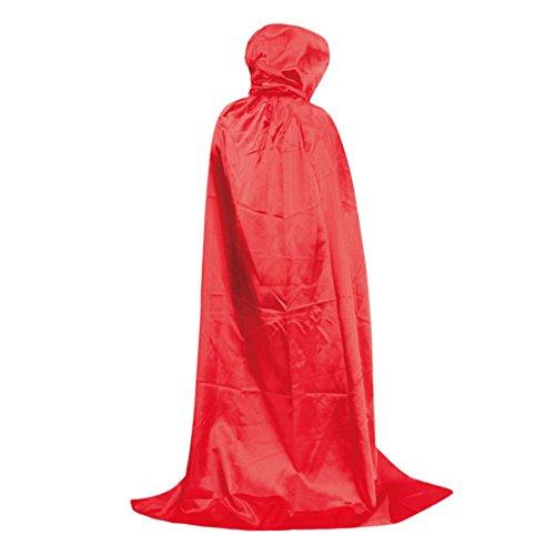 n Umhang Schwarz Tod Satin Karneval Halloween Kostüm Cape mit Kapuze Mehrfabig (Rot) (Halloween-kostüm Cape)