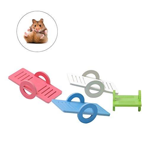 POPETPOP 4 stücke Hamster Spielzeug Holz Klettern Wippe Lustige Turnhalle Spielplatz Übung Bunte Safe Spielzeug für Kleintier