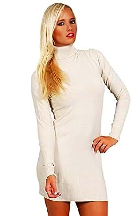 10648 Fashion4Young Damen Strick Minikleid LongPullover Pullover Pulli Kleid in 6 Farben 2 Größen (S/M=34/36, Beige)