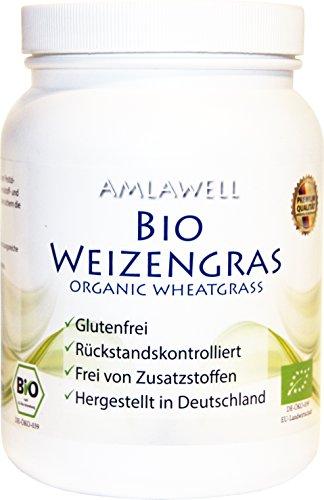 Amlawell Bio-Weizengras-Pulver 500g Dose/aus deutschem Anbau/Rohkostqualität / DE-ÖKO-039