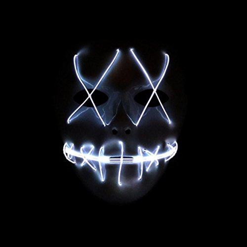r leuchtende Maske Die Reinigung Film EL Draht DJ Party Festival Halloween Kostüm LED-Maske HQ New Maske (Weiß) (Halloween-kostüm, Horror-film)