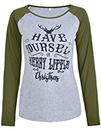 27328e462f04 BEWISH Damen Weihnachten Bluse Langarm Warm Rundhals Hemd Pullover T-Shirt  Tops Oberteile