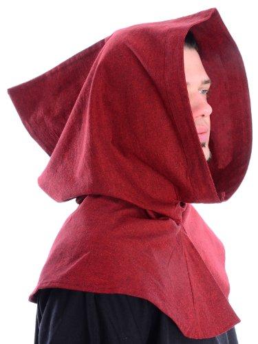 Mittelalter Kapuze Baumwolle Mittelalterliche Kleidung schwarz rot grün blau beige braun (one size, dunkelrot)