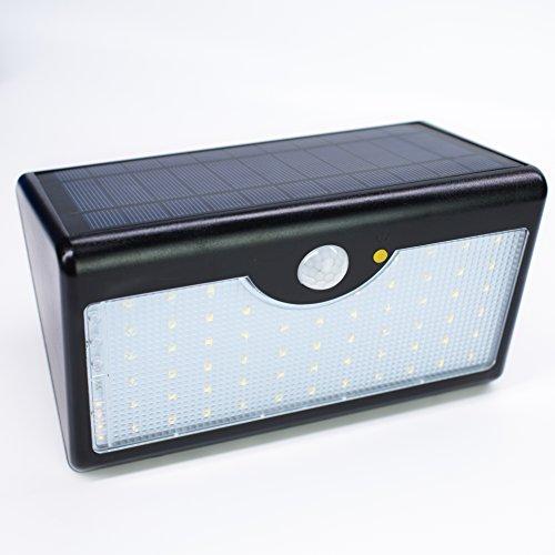 Lumière LED solaire de capteur de mouvement, applique solaire, grand panneau de charge, la batterie au lithium, 60 perles de lampe, 5 modes de fonctionnement, la zone de rayonnement est de 80-100m², super lumineux, imperméable à l'eau, convenable au jardin, terrasse, garage, activité en plein air.