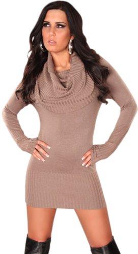 Koucla robe pull & pour femme avec large col roulé taille unique (32–40) Beige - Beige