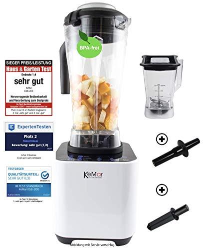 Image of KeMar Kitchenware KSB-200 Hochleistungsmixer, Standmixer, LED Touch Bedienung, 1.500W, 30.000 U/min, inkl. 1 + 2 Liter Behälter BPA-frei, 6 Programme, manuelle Einstellung, Weiß
