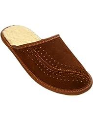 BeComfy invierno zapatillas para hombres, oveja de lana caliente, suaves, cómodo. Model XH07 (45, Marrón)
